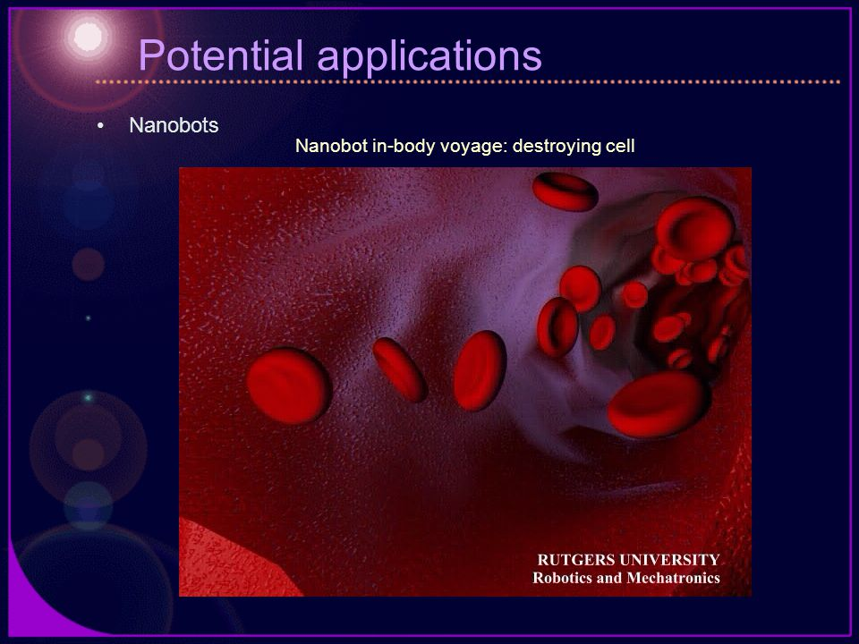 Potential applications Nanobots Nanobot in-body voyage: destroying cell