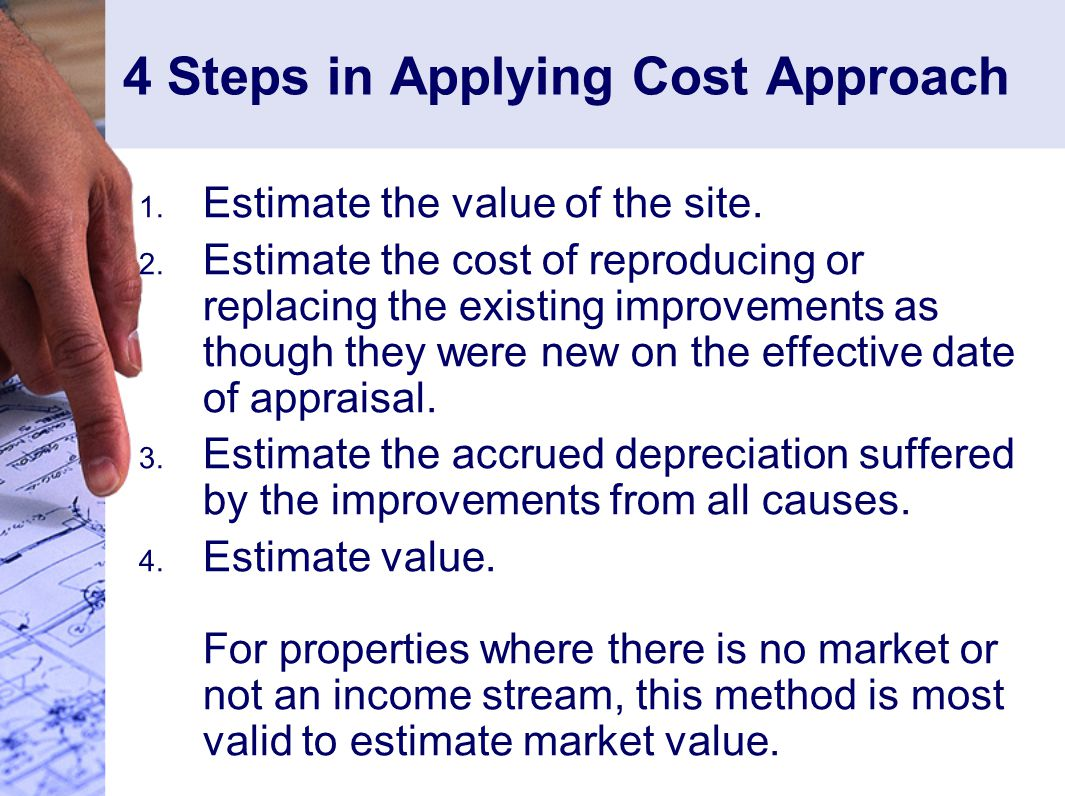 4 Steps in Applying Cost Approach 1.Estimate the value of the site.