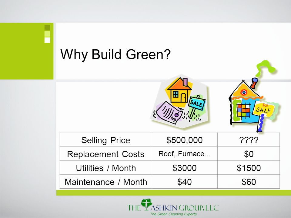 Why Build Green. Selling Price$500,000 . Replacement Costs Roof, Furnace...