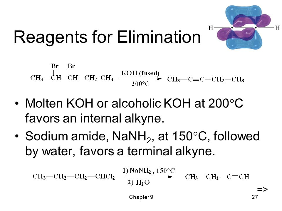 Chapter 927 Reagents for Elimination Molten KOH or alcoholic KOH at 200  C favors an internal alkyne.
