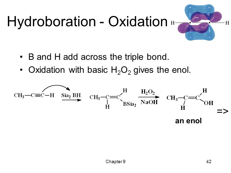 Chapter 942 Hydroboration - Oxidation B and H add across the triple bond.