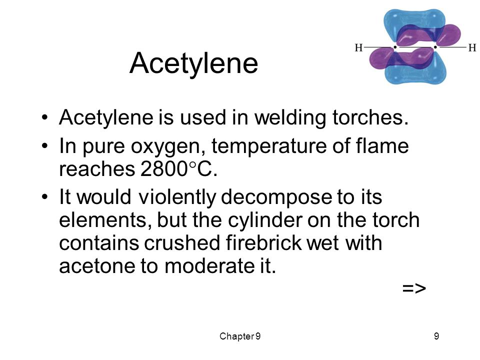 Chapter 99 Acetylene Acetylene is used in welding torches.
