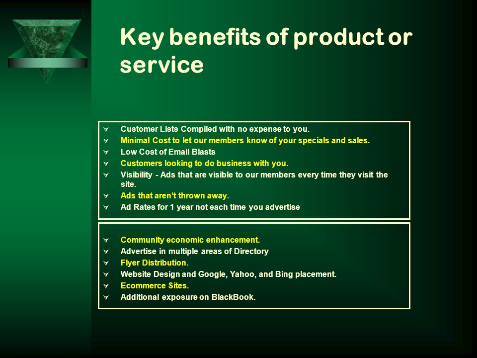 Key benefits of product or service CCustomer Lists Compiled with no expense to you.
