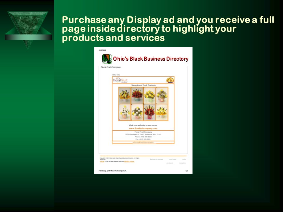 Purchase any Display ad and you receive a full page inside directory to highlight your products and services