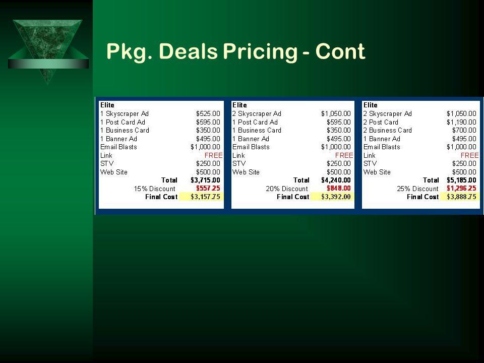 Pkg. Deals Pricing - Cont