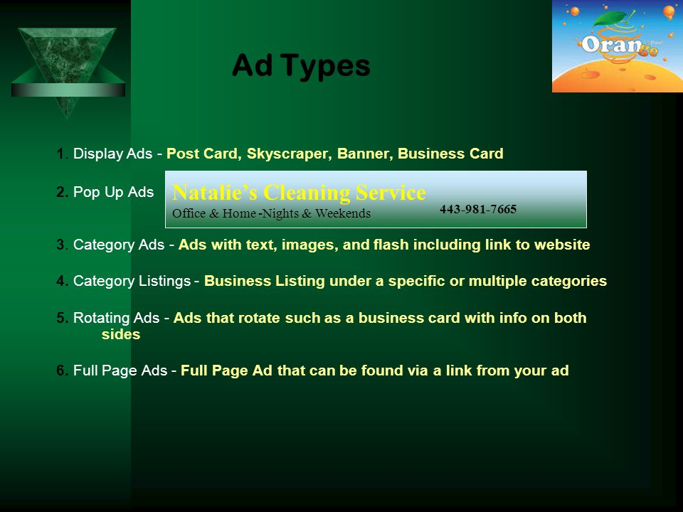 Ad Types 1. Display Ads - Post Card, Skyscraper, Banner, Business Card 2.