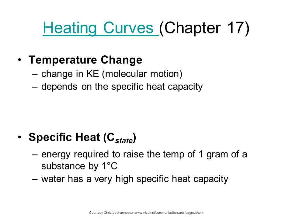 Heating Curves Energy is added at a constant rate over time Temperature ( o C) 40 20 0 -20 -40 -60 -80 -100 120 100 80 60 140 Time Melting - PE  Solid - KE  Liquid - KE  Boiling - PE  Gas - KE 