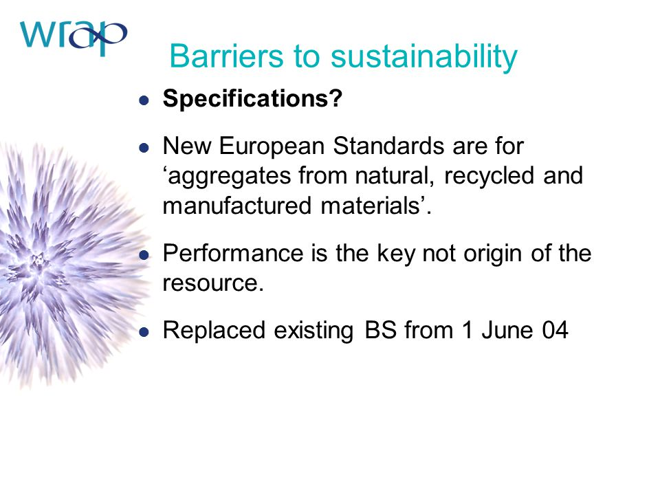 Barriers to sustainability l Specifications.
