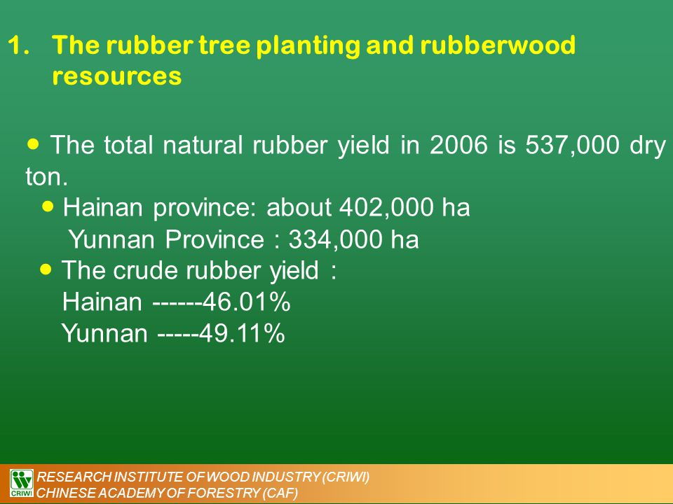 RESEARCH INSTITUTE OF WOOD INDUSTRY (CRIWI) CHINESE ACADEMY OF FORESTRY (CAF) 1.The rubber tree planting and rubberwood resources Table 1 the rubber plant area and crude rubber yield in 2006 in China Item UnitTotalFujianGuangdongGuangxiHainanYunnan The rubber plant area10 3 ×ha.776.20.135.44.4402.2334.1 In which, newly planted10 3 ×ha.57.6 1.7 21.434.5 In which, available for latex harvest 10 3 ×ha.4770.129.23291.4153.3 Output ( Dry crude rubber ) Ton537,983.03225,395.0813247,505.0264,238.0 Source from: China agriculture yearbook