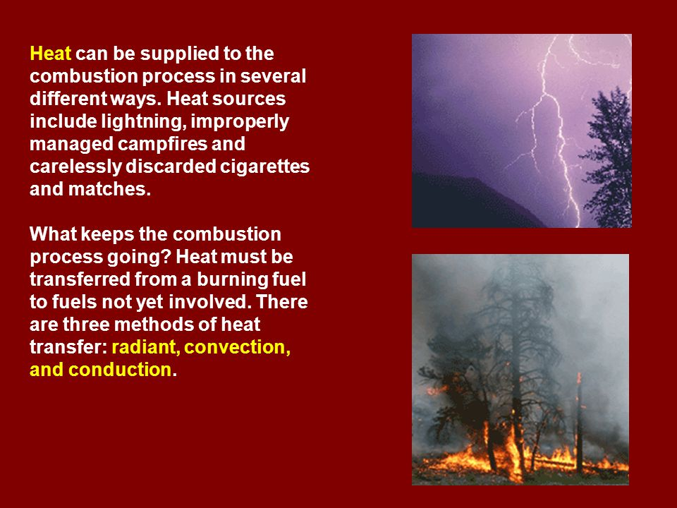 Heat can be supplied to the combustion process in several different ways.