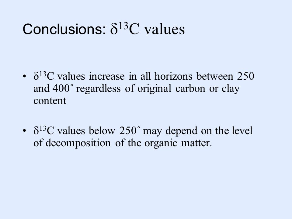 Conclusions:  13 C values  13 C values increase in all horizons between 250 and 400˚ regardless of original carbon or clay content  13 C values below 250˚ may depend on the level of decomposition of the organic matter.