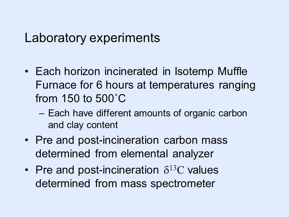 Laboratory experiments Each horizon incinerated in Isotemp Muffle Furnace for 6 hours at temperatures ranging from 150 to 500˚C –Each have different amounts of organic carbon and clay content Pre and post-incineration carbon mass determined from elemental analyzer Pre and post-incineration  13 C values determined from mass spectrometer