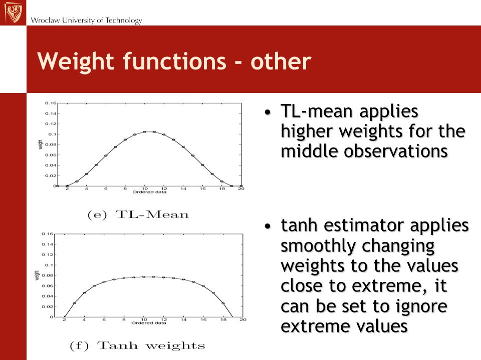 Weight functions - other TL-mean applies higher weights for the middle observationsTL-mean applies higher weights for the middle observations tanh estimator applies smoothly changing weights to the values close to extreme, it can be set to ignore extreme valuestanh estimator applies smoothly changing weights to the values close to extreme, it can be set to ignore extreme values