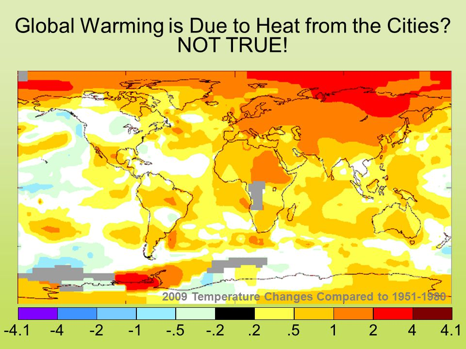 -4.1-4-2-.5-.2.2.51244.1 Global Warming is Due to Heat from the Cities? 2009 Temperature Changes Compared to 1951-1980 NOT TRUE!