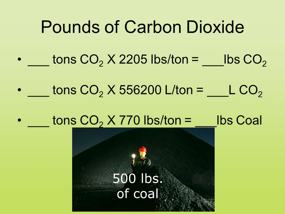Pounds of Carbon Dioxide ___ tons CO 2 X 2205 lbs/ton = ___lbs CO 2 ___ tons CO 2 X 556200 L/ton = ___L CO 2 ___ tons CO 2 X 770 lbs/ton = ___lbs Coal 500 lbs.