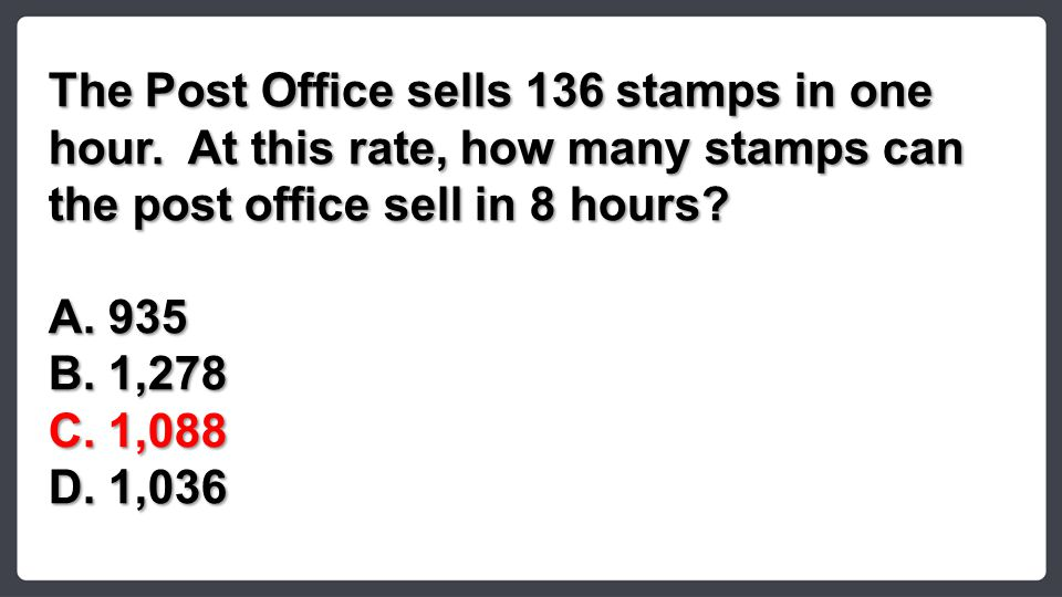 The Post Office sells 136 stamps in one hour.