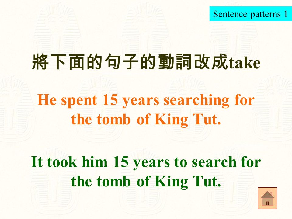 be covered with 覆蓋著 His face was covered with a golden mask. Sentence-making 8