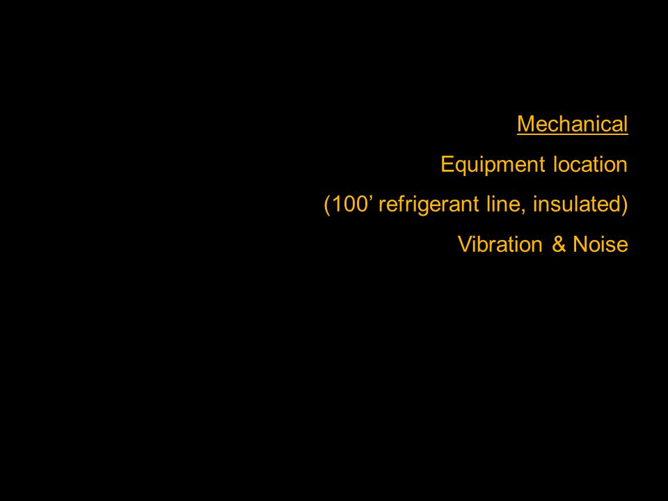 Mechanical Equipment location (100' refrigerant line, insulated) Vibration & Noise