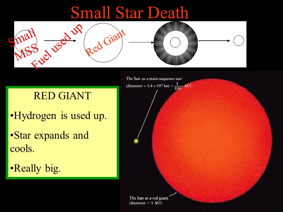 Small Star Death RED GIANT Hydrogen is used up. Star expands and cools. Really big. Small MSS Fuel used up Red Giant