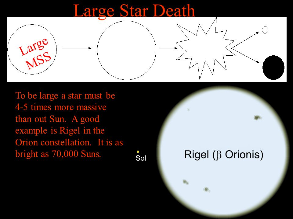Large MSS To be large a star must be 4-5 times more massive than out Sun. A good example is Rigel in the Orion constellation. It is as bright as 70,00