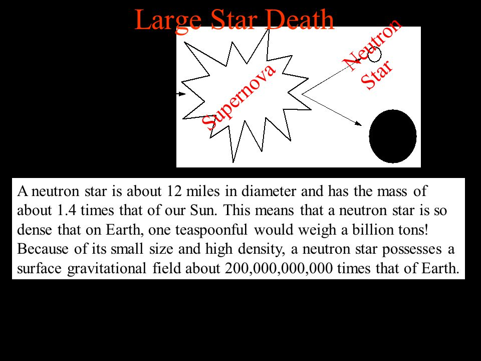 Supernova Neutron Star Large Star Death A neutron star is about 12 miles in diameter and has the mass of about 1.4 times that of our Sun. This means t