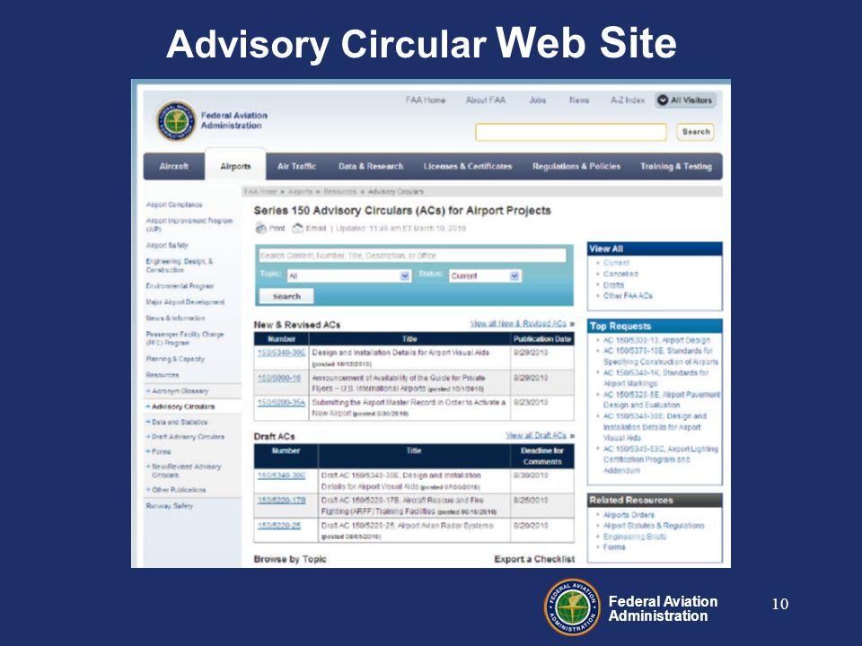 Federal Aviation Administration 10 Advisory Circular Web Site