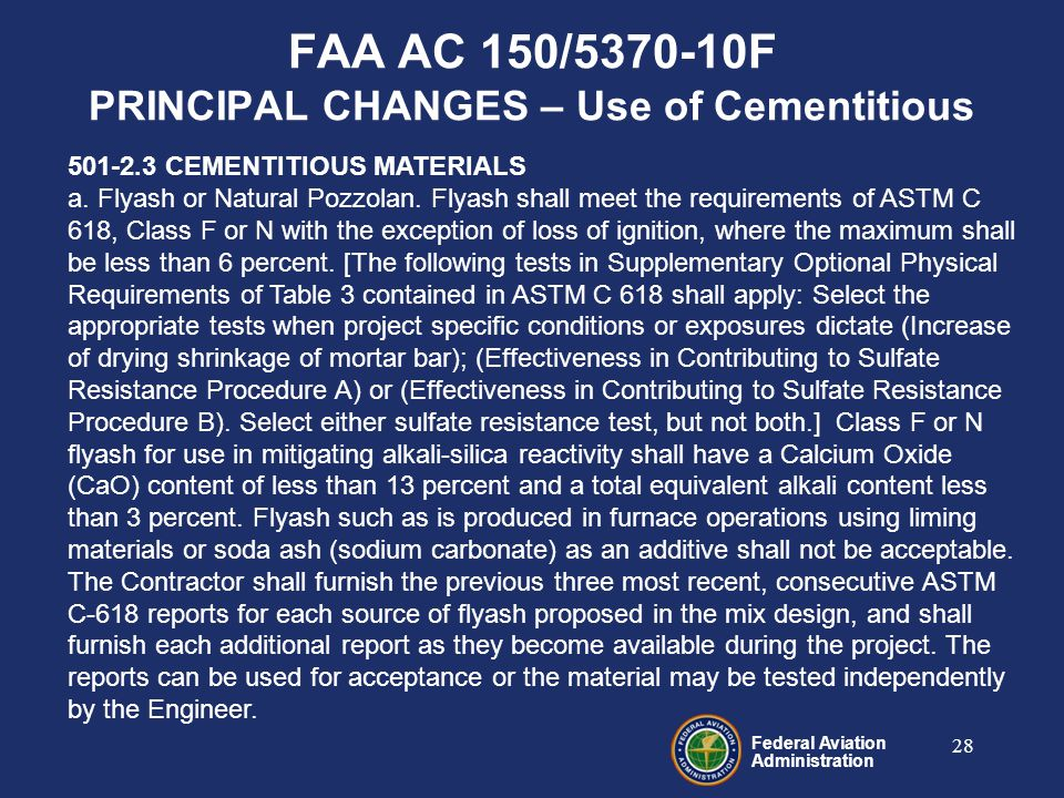 Federal Aviation Administration 28 501-2.3 CEMENTITIOUS MATERIALS a.