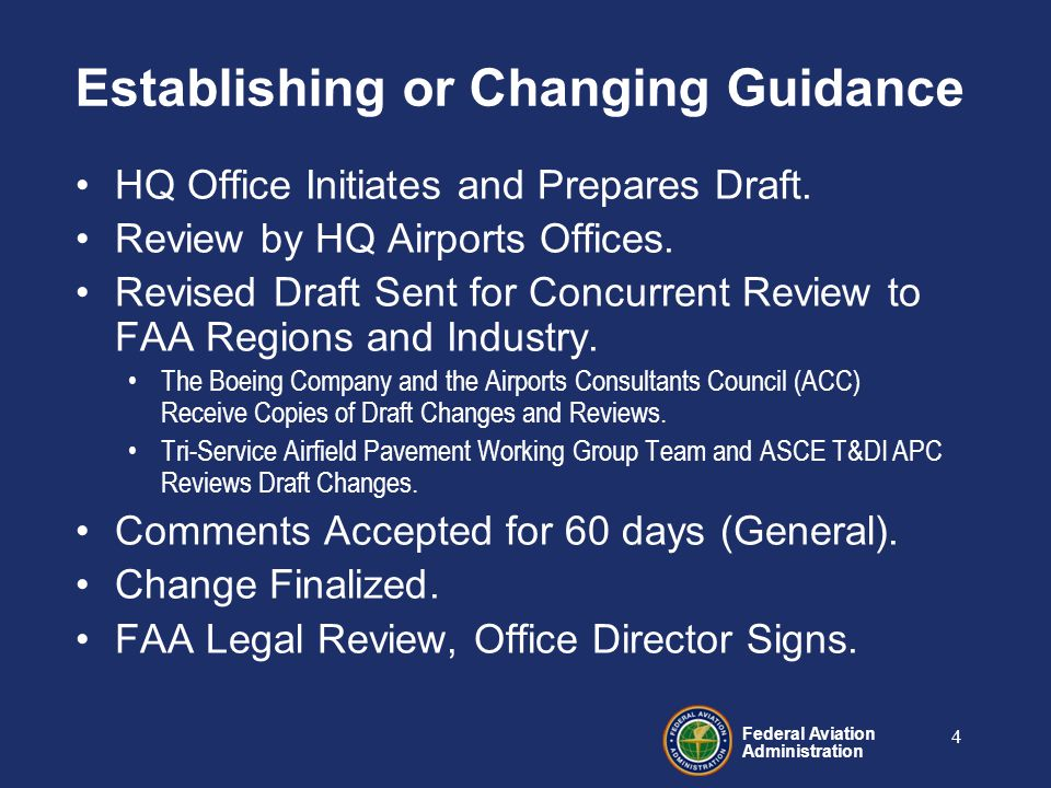 Federal Aviation Administration 4 Establishing or Changing Guidance HQ Office Initiates and Prepares Draft.