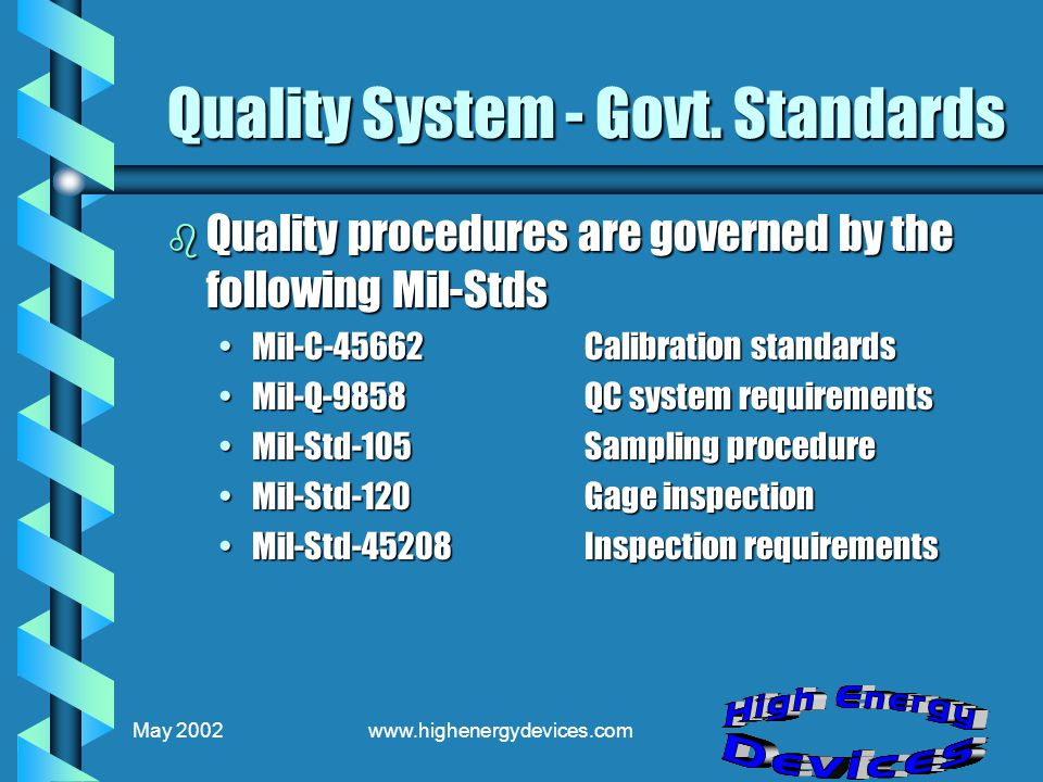 May 2002www.highenergydevices.com Quality System - Govt.