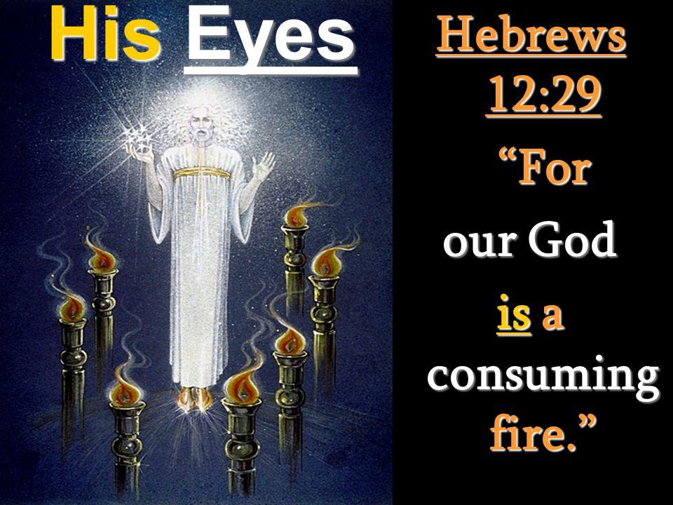 His Eyes Hebrews 12:29 For For our God is a consuming fire.