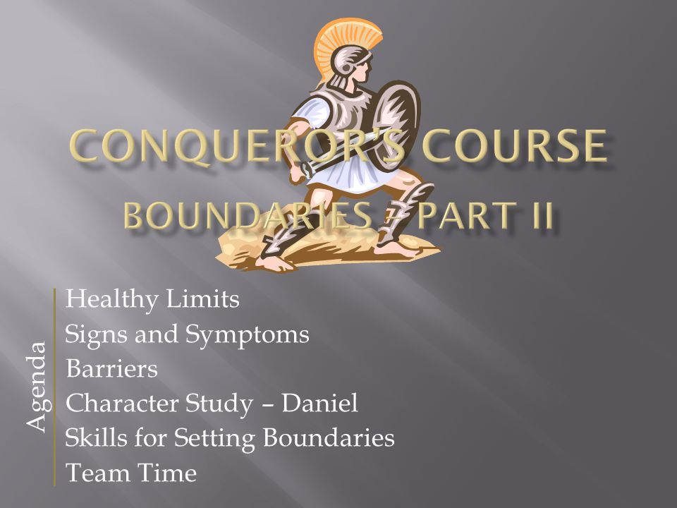 Healthy Limits Signs and Symptoms Barriers Character Study – Daniel Skills for Setting Boundaries Team Time Agenda