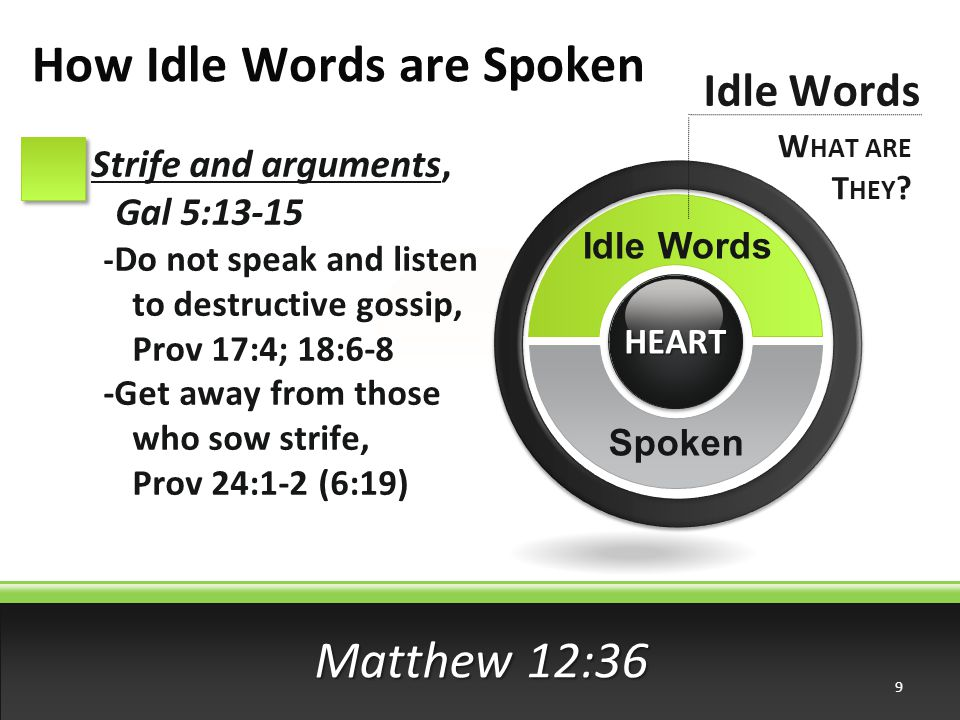 Matthew 12:36 Strife and arguments, Gal 5:13-15 - Do not speak and listen to destructive gossip, Prov 17:4; 18:6-8 -Get away from those who sow strife, Prov 24:1-2 (6:19) Idle Words W HAT ARE T HEY .