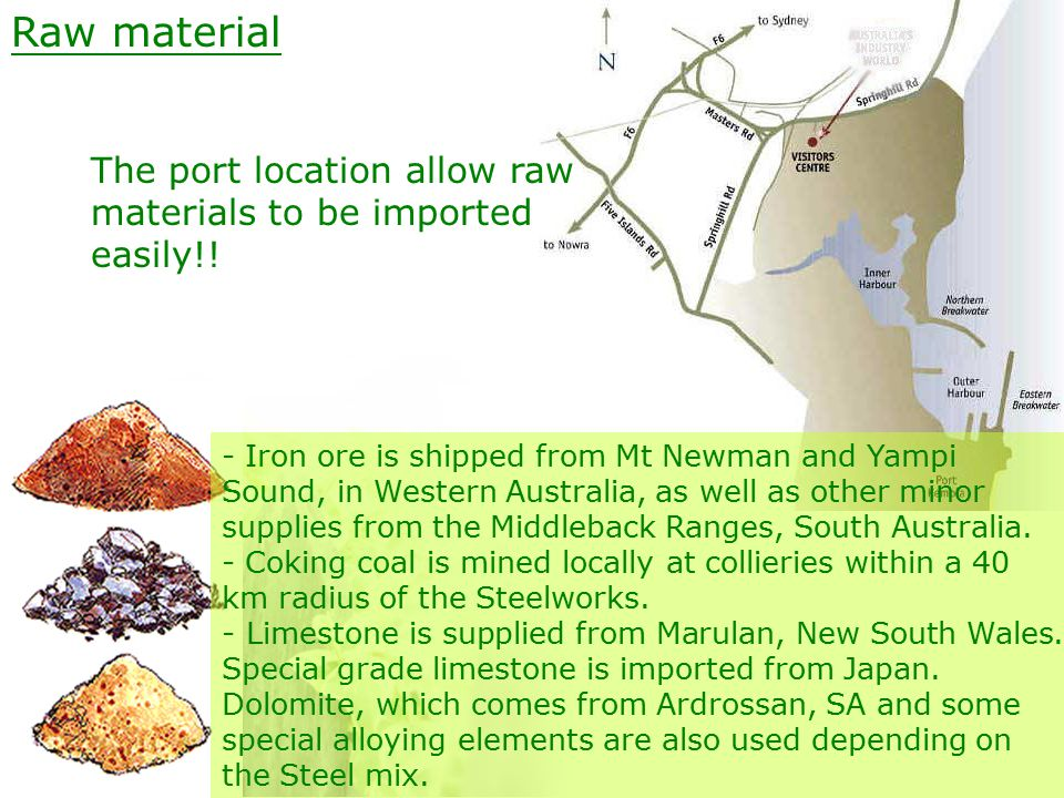 Raw material The port location allow raw materials to be imported easily!.