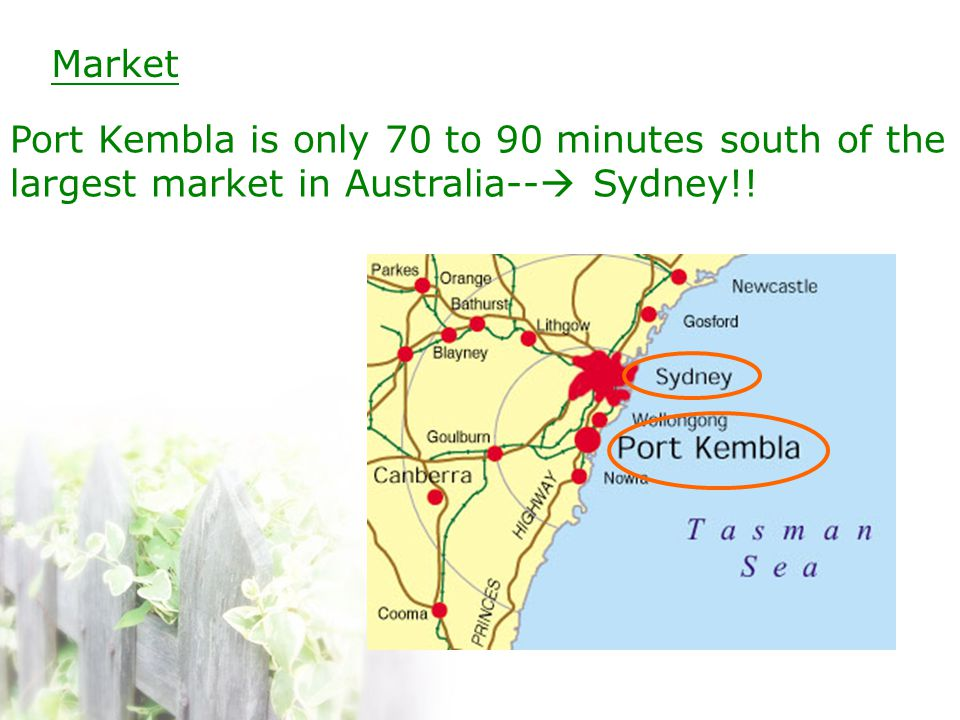 Market Port Kembla is only 70 to 90 minutes south of the largest market in Australia--  Sydney!!
