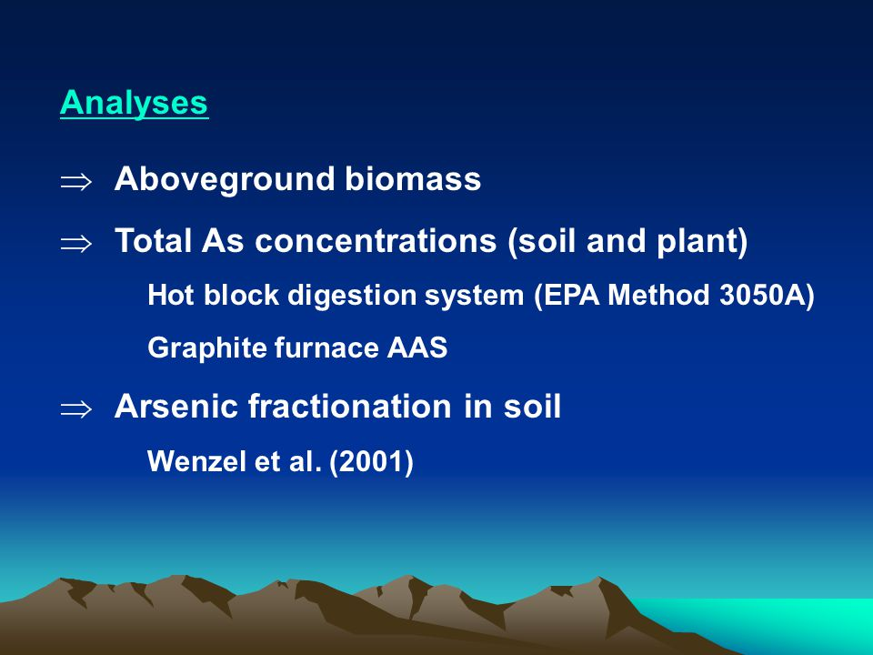 Analyses  Aboveground biomass  Total As concentrations (soil and plant) Hot block digestion system (EPA Method 3050A) Graphite furnace AAS  Arsenic