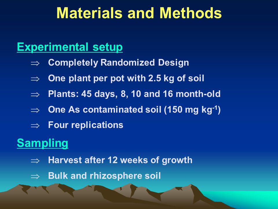 Materials and Methods Experimental setup  Completely Randomized Design  One plant per pot with 2.5 kg of soil  Plants: 45 days, 8, 10 and 16 month-