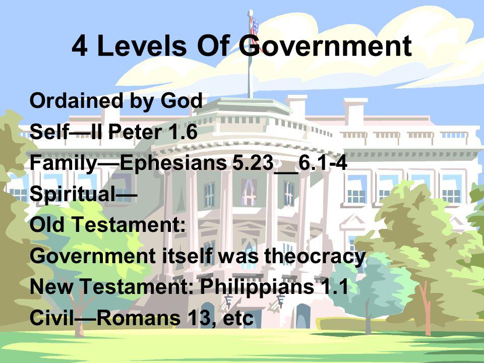 All Levels— Must practice discipline & punishment— Self—II Corinthians 13.5 Proverbs 25.28 Family—Proverbs 23.13,14 Church—congregational discipline, I Corinthians 5, etc Civil—Romans 13.4