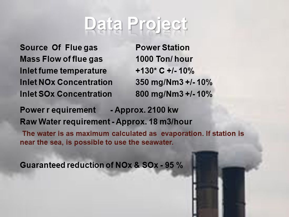 Source Of Flue gasPower Station Mass Flow of flue gas 1000 Ton/ hour Inlet fume temperature+130* C +/- 10% Inlet NOx Concentration350 mg/Nm3 +/- 10% I