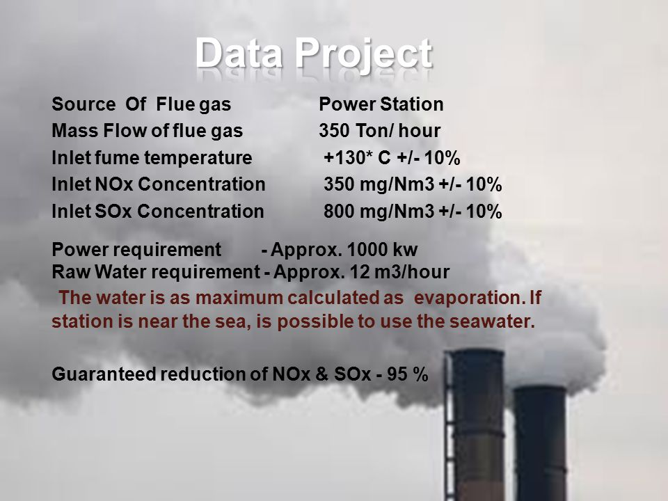 Source Of Flue gasPower Station Mass Flow of flue gas 350 Ton/ hour Inlet fume temperature +130* C +/- 10% Inlet NOx Concentration 350 mg/Nm3 +/- 10%