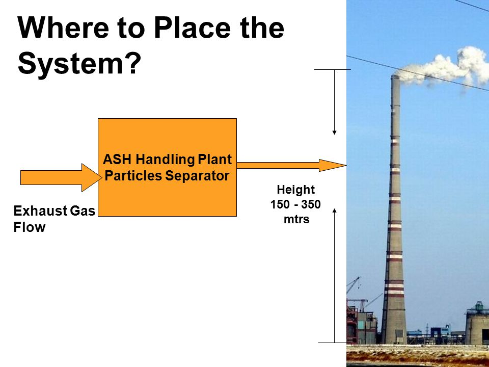 ASH Handling Plant Particles Separator Exhaust Gas Flow Where to Place the System? Height 150 - 350 mtrs