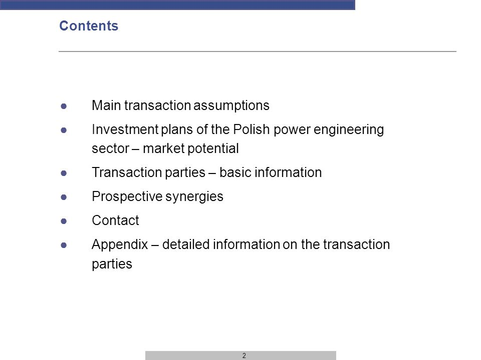 3 TRANSACTION CLOSURE PLANNED – 1 ST QUARTER OF 2010 CONDITIONS PRECEDENT Conclusion of an investment agreement on 21 September 2009 Resolution of the EGM of Shareholders of Energomontaż-Południe S.A.