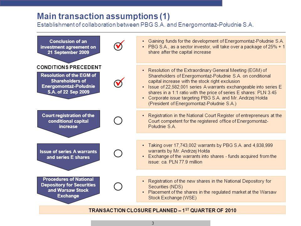 4 International and domestic partners Main transaction assumptions (2) Mutual benefits Energomontaż-Południe S.A.