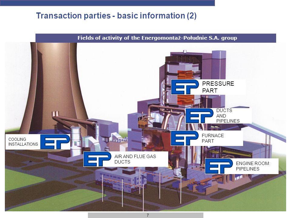 7 Transaction parties - basic information (2) Fields of activity of the Energomontaż-Południe S.A.