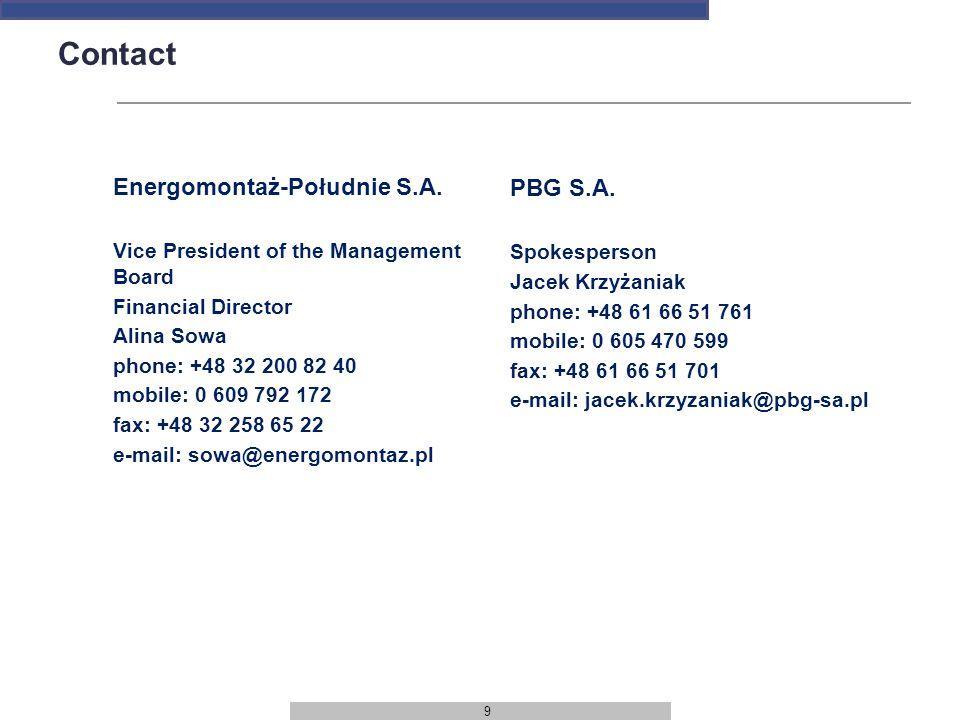 9 Contact Energomontaż-Południe S.A.