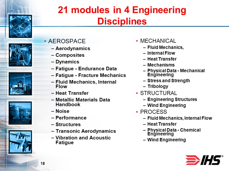 18 21 modules in 4 Engineering Disciplines AEROSPACE –Aerodynamics –Composites –Dynamics –Fatigue - Endurance Data –Fatigue - Fracture Mechanics –Fluid Mechanics, Internal Flow –Heat Transfer –Metallic Materials Data Handbook –Noise –Performance –Structures –Transonic Aerodynamics –Vibration and Acoustic Fatigue MECHANICALhanical –Fluid Mechanics, –Internal Flow –Heat Transfer –Mechanisms –Physical Data - Mechanical Engineering –Stress and Strength –Tribology STRUCTURAL –Engineering Structures –Wind Engineering PROCESS –Fluid Mechanics, Internal Flow –Heat Transfer –Physical Data - Chemical Engineering –Wind Engineering
