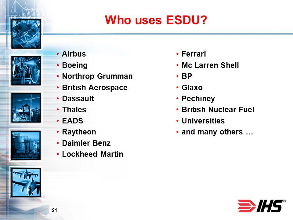 21 Who uses ESDU.