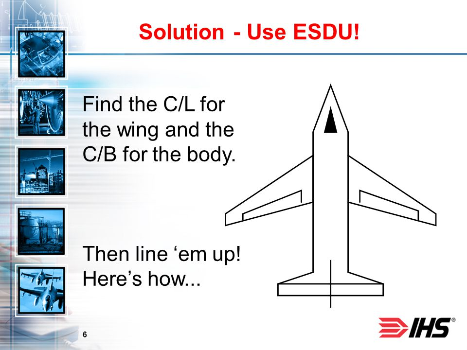 6 Solution - Use ESDU! Find the C/L for the wing and the C/B for the body. Then line 'em up! Here's how...