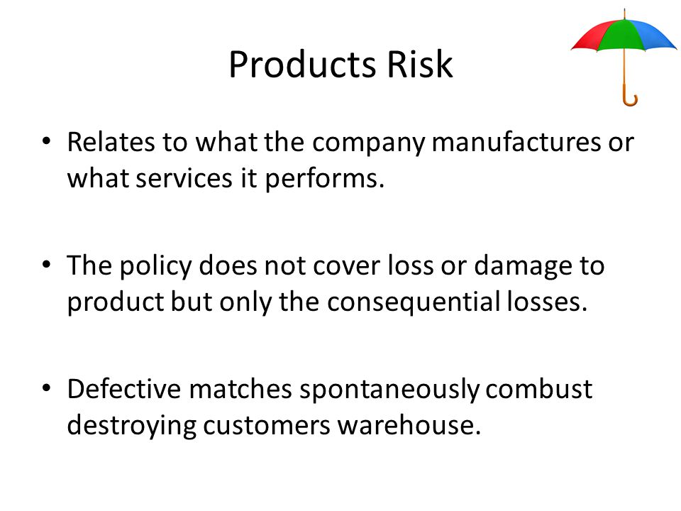 Products Risk Relates to what the company manufactures or what services it performs.