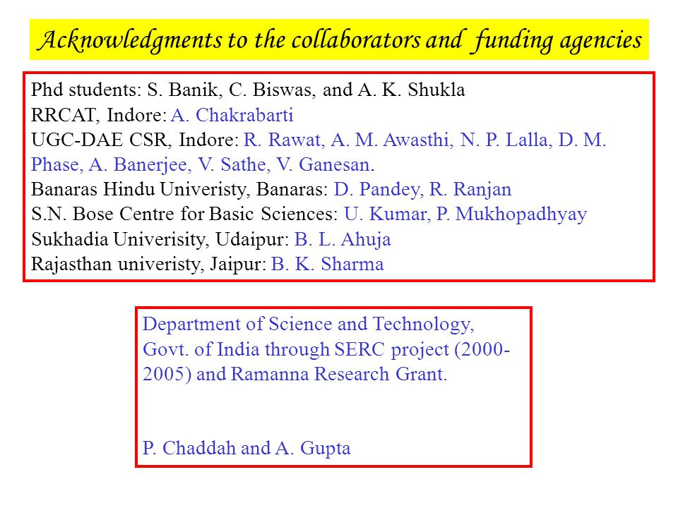 Acknowledgments to the collaborators and funding agencies Department of Science and Technology, Govt. of India through SERC project (2000- 2005) and R