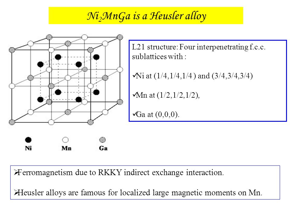  Ferromagnetism due to RKKY indirect exchange interaction.  Heusler alloys are famous for localized large magnetic moments on Mn. Ni 2 MnGa is a Heu